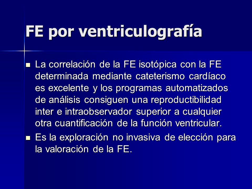FE por ventriculografía La correlación de la FE isotópica con la FE determinada mediante cateterismo cardíaco es excelente y los programas automatizad