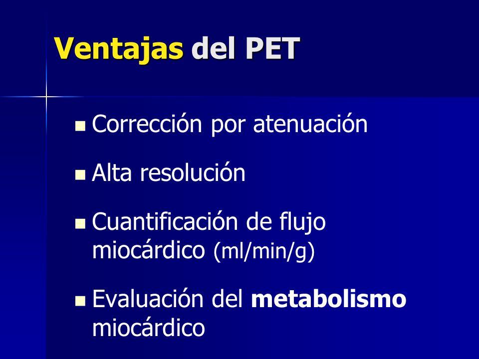 Ventajas del PET Corrección por atenuación Alta resolución Cuantificación de flujo miocárdico (ml/min/g) Evaluación del metabolismo miocárdico