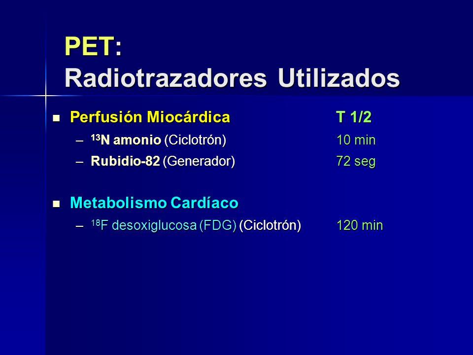 PET: Radiotrazadores Utilizados Perfusión Miocárdica T 1/2 Perfusión Miocárdica T 1/2 – 13 N amonio (Ciclotrón)10 min –Rubidio-82 (Generador)72 seg Me