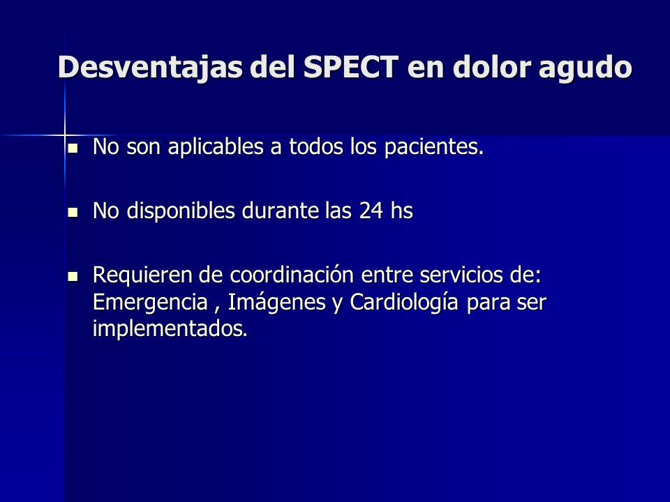 Desventajas del SPECT en dolor agudo No son aplicables a todos los pacientes. No son aplicables a todos los pacientes. No disponibles durante las 24 h