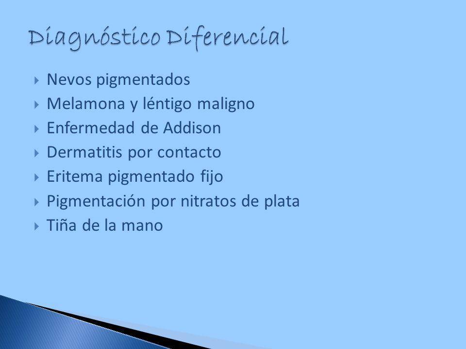 Nevos pigmentados Melamona y léntigo maligno Enfermedad de Addison Dermatitis por contacto Eritema pigmentado fijo Pigmentación por nitratos de plata