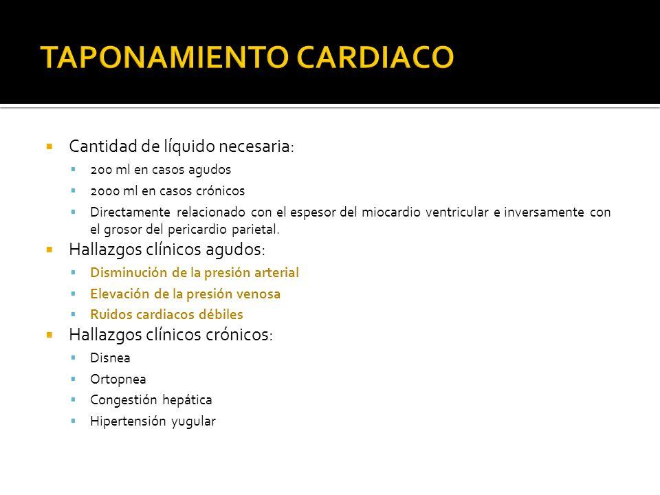 Cantidad de líquido necesaria: 200 ml en casos agudos 2000 ml en casos crónicos Directamente relacionado con el espesor del miocardio ventricular e in