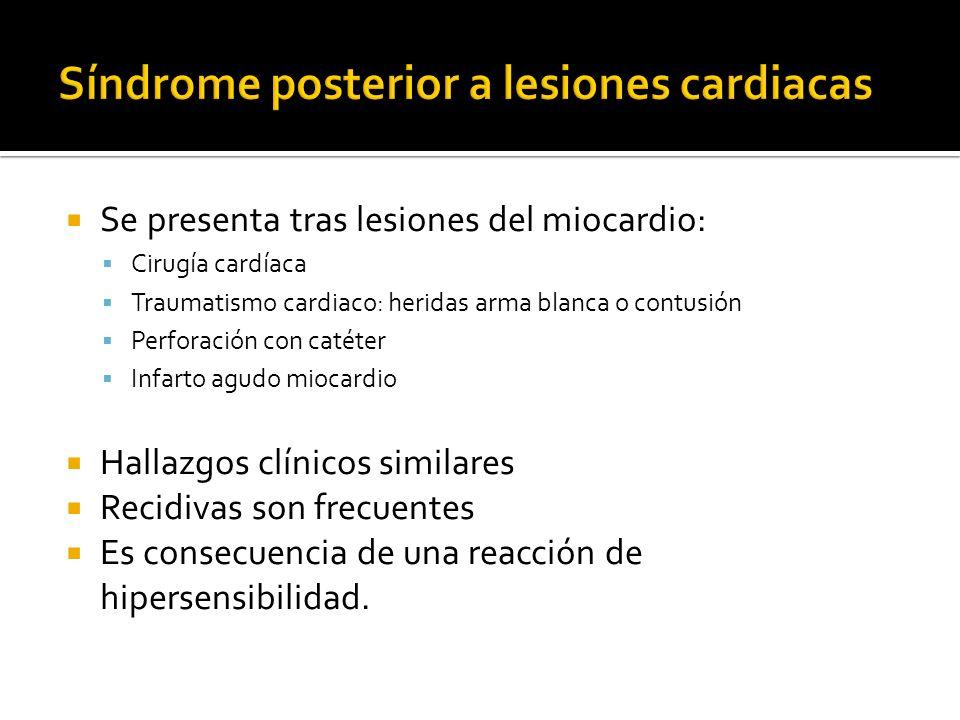Se presenta tras lesiones del miocardio: Cirugía cardíaca Traumatismo cardiaco: heridas arma blanca o contusión Perforación con catéter Infarto agudo