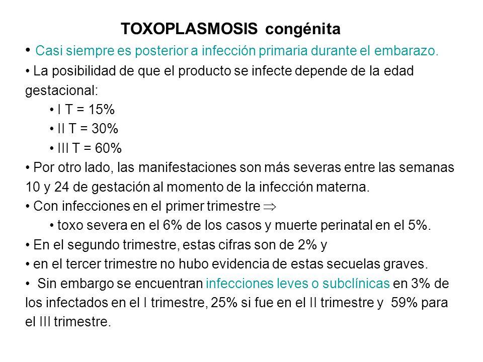 Toxoplasmosis congénita Neonatos con infección evidente 1 : 10.