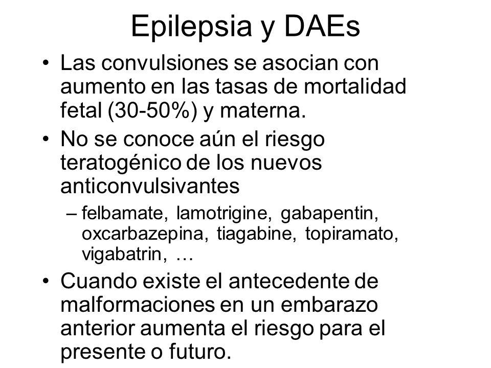 Epilepsia y DAEs Las convulsiones se asocian con aumento en las tasas de mortalidad fetal (30-50%) y materna. No se conoce aún el riesgo teratogénico