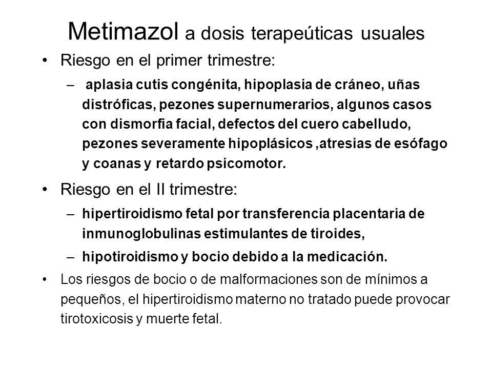 Metimazol a dosis terapeúticas usuales Riesgo en el primer trimestre: – aplasia cutis congénita, hipoplasia de cráneo, uñas distróficas, pezones super