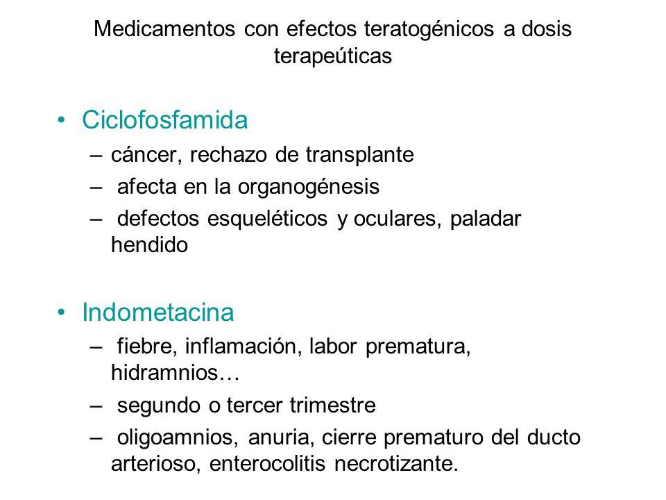 Medicamentos con efectos teratogénicos a dosis terapeúticas Litio –enfermedad mental –organogénesis, en el ~ 1% de los expuestos – cardiopatías, especialmente la anomalía de Ebstein de la válvula tricúspide.