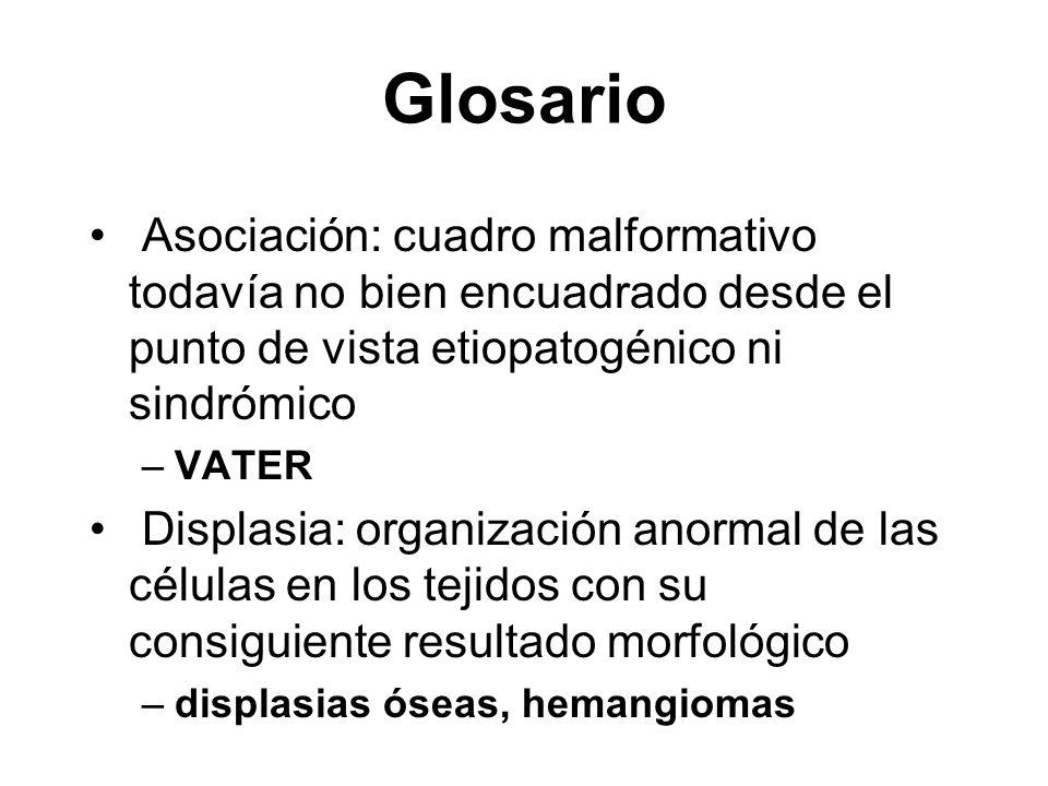 Glosario Developmental field defects son alteraciones en el desarrollo de un campo morfogénico o región del embrión que se desarrolla de manera coordinada: –holoprosencefalia, hipotelorismo, hipoplasia nasal, hendiduras centrales de labio y paladar Síndromes son patrones en los que todos los componentes anómalos están relacionados desde el punto de vista etiopatogénico –s de Marfan, s de Down, s alcohólico fetal,...