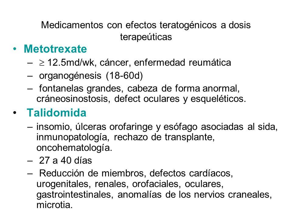 Medicamentos con efectos teratogénicos a dosis terapeúticas Metotrexate – 12.5md/wk, cáncer, enfermedad reumática – organogénesis (18-60d) – fontanela