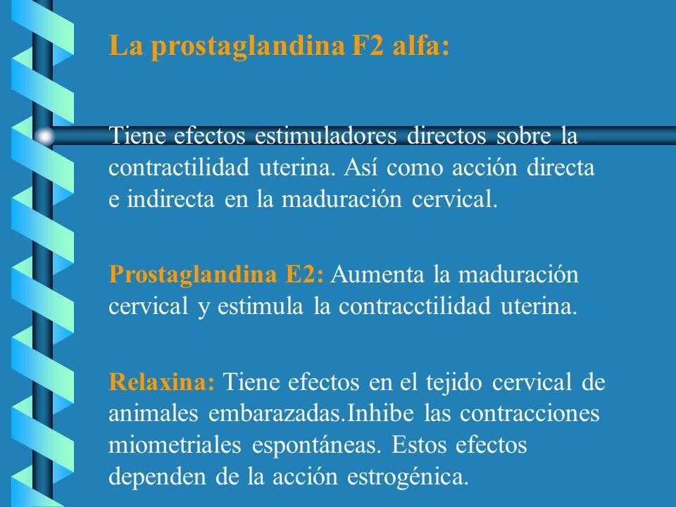 La prostaglandina F2 alfa: Tiene efectos estimuladores directos sobre la contractilidad uterina. Así como acción directa e indirecta en la maduración