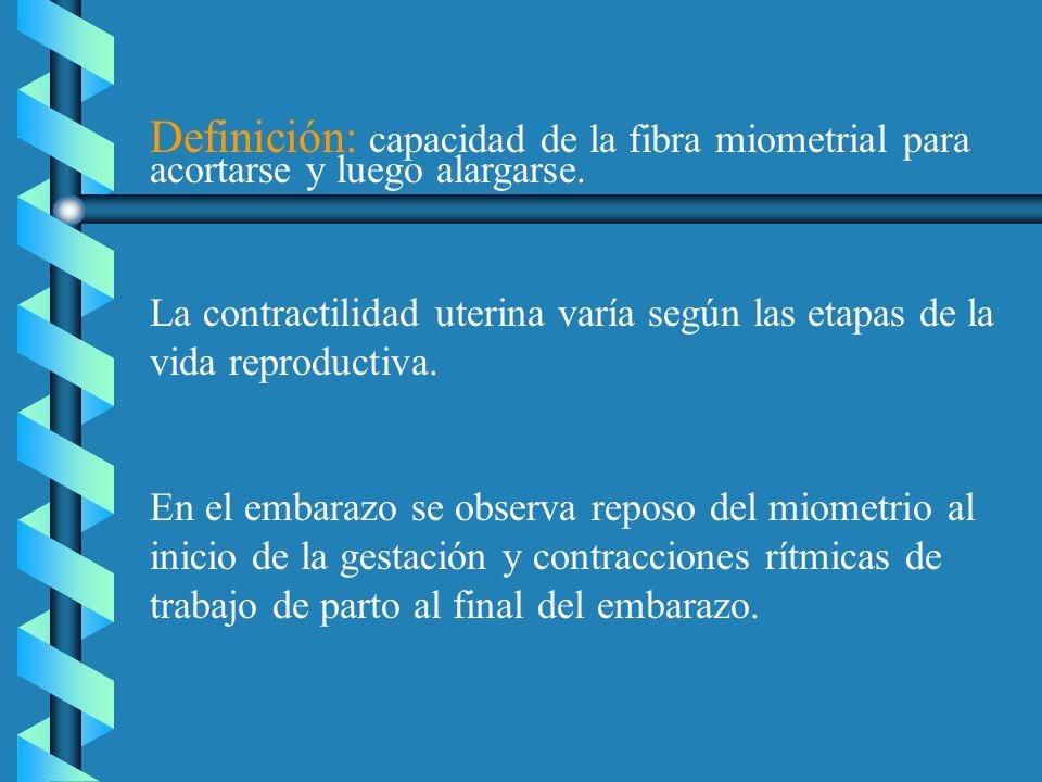 Definición: capacidad de la fibra miometrial para acortarse y luego alargarse. La contractilidad uterina varía según las etapas de la vida reproductiv
