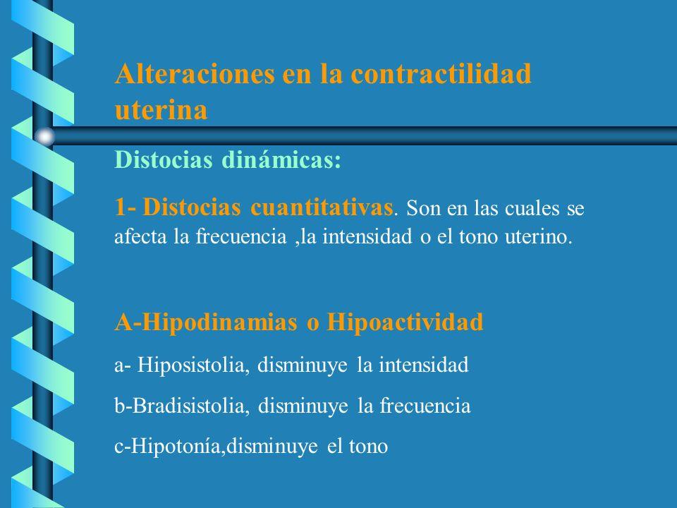 Alteraciones en la contractilidad uterina Distocias dinámicas: 1- Distocias cuantitativas. Son en las cuales se afecta la frecuencia,la intensidad o e
