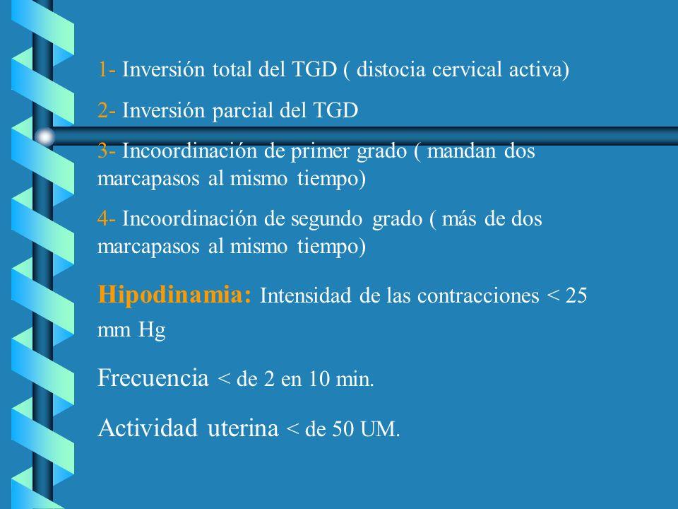 1- Inversión total del TGD ( distocia cervical activa) 2- Inversión parcial del TGD 3- Incoordinación de primer grado ( mandan dos marcapasos al mismo