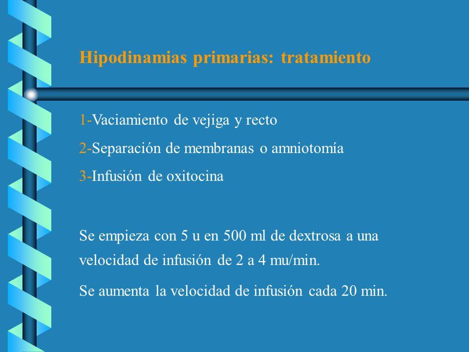 Hipodinamias primarias: tratamiento 1-Vaciamiento de vejiga y recto 2-Separación de membranas o amniotomía 3-Infusión de oxitocina Se empieza con 5 u