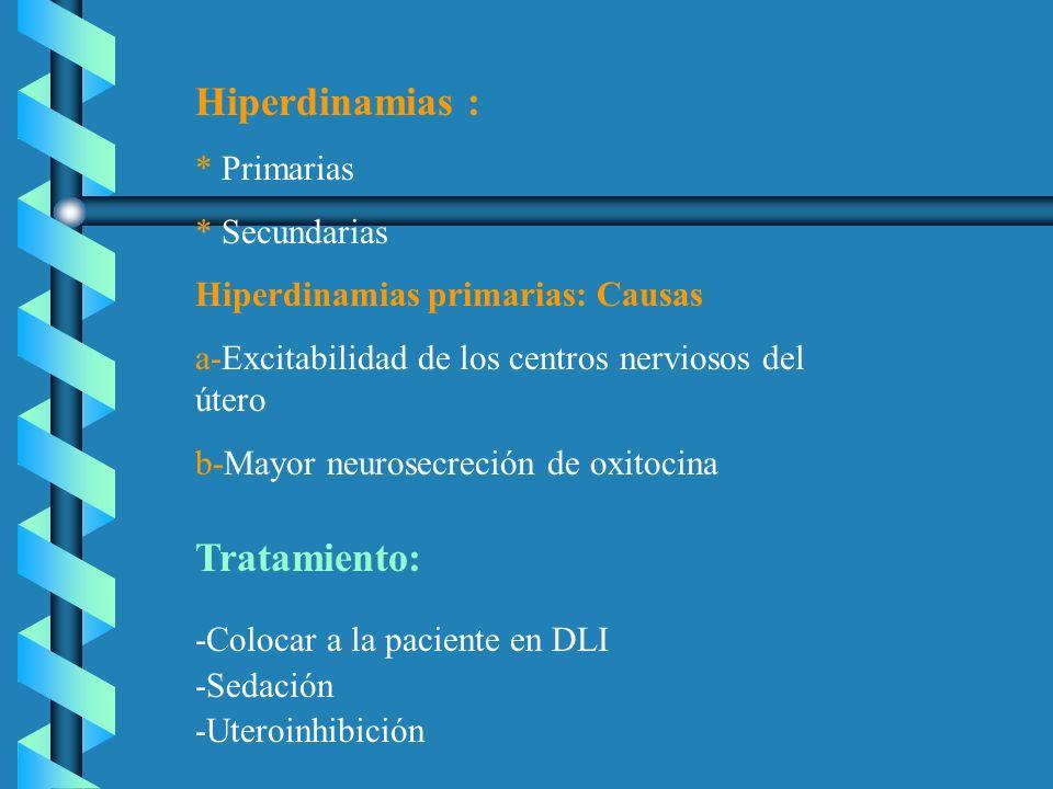 Hiperdinamias : * Primarias * Secundarias Hiperdinamias primarias: Causas a-Excitabilidad de los centros nerviosos del útero b-Mayor neurosecreción de
