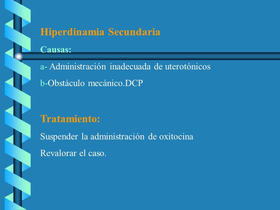 Hiperdinamia Secundaria Causas: a- Administración inadecuada de uterotónicos b-Obstáculo mecánico.DCP Tratamiento: Suspender la administración de oxit