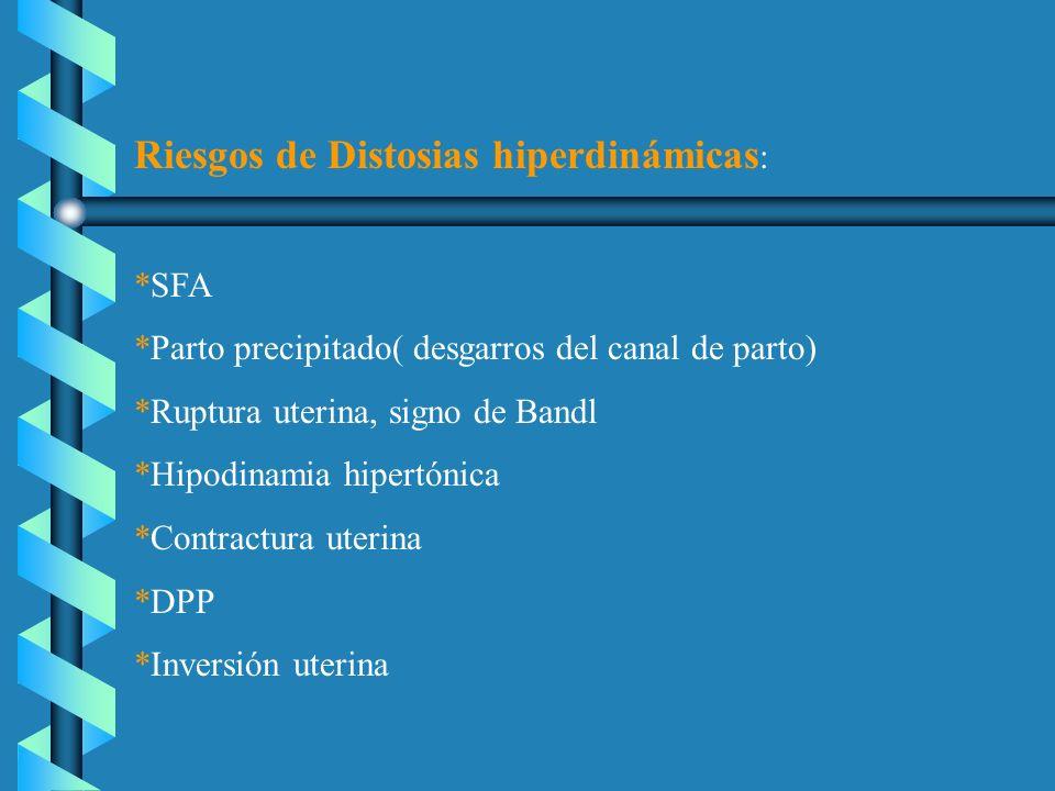Riesgos de Distosias hiperdinámicas : *SFA *Parto precipitado( desgarros del canal de parto) *Ruptura uterina, signo de Bandl *Hipodinamia hipertónica