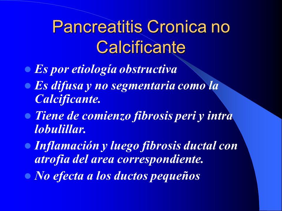 Pancreatitis Cronica no Calcificante Es por etiología obstructiva Es difusa y no segmentaria como la Calcificante. Tiene de comienzo fibrosis peri y i