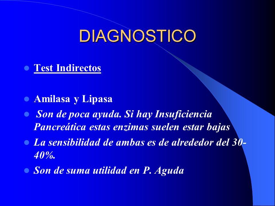 DIAGNOSTICO Test Indirectos Amilasa y Lipasa Son de poca ayuda. Si hay Insuficiencia Pancreática estas enzimas suelen estar bajas La sensibilidad de a