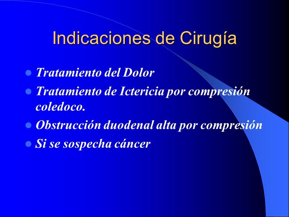 Indicaciones de Cirugía Tratamiento del Dolor Tratamiento de Ictericia por compresión coledoco. Obstrucción duodenal alta por compresión Si se sospech