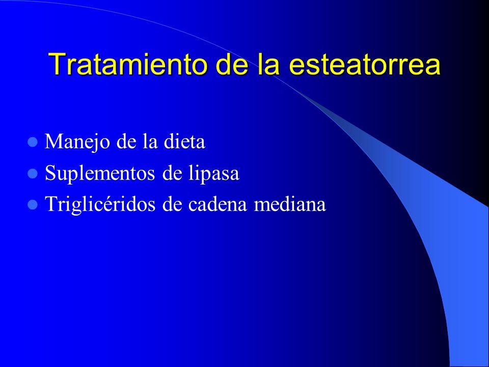 Tratamiento de la esteatorrea Manejo de la dieta Suplementos de lipasa Triglicéridos de cadena mediana