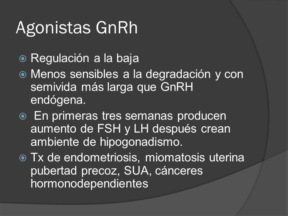 Agonistas GnRh Regulación a la baja Menos sensibles a la degradación y con semivida más larga que GnRH endógena. En primeras tres semanas producen aum
