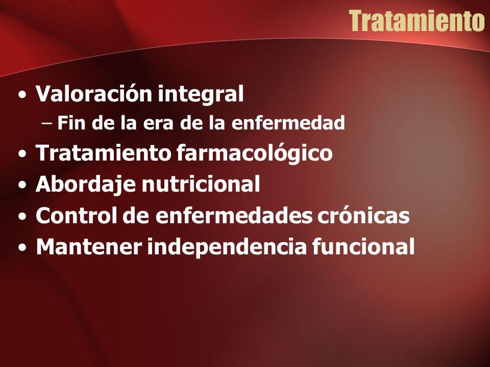 Tratamiento Valoración integral –Fin de la era de la enfermedad Tratamiento farmacológico Abordaje nutricional Control de enfermedades crónicas Mantener independencia funcional