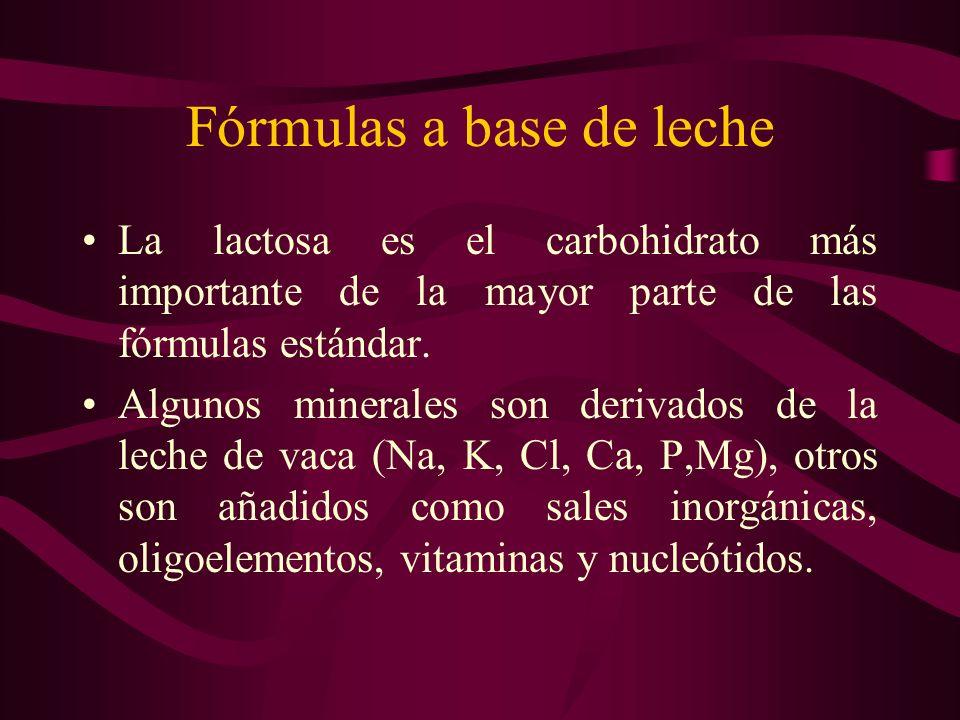 Fórmulas a base de leche La lactosa es el carbohidrato más importante de la mayor parte de las fórmulas estándar. Algunos minerales son derivados de l