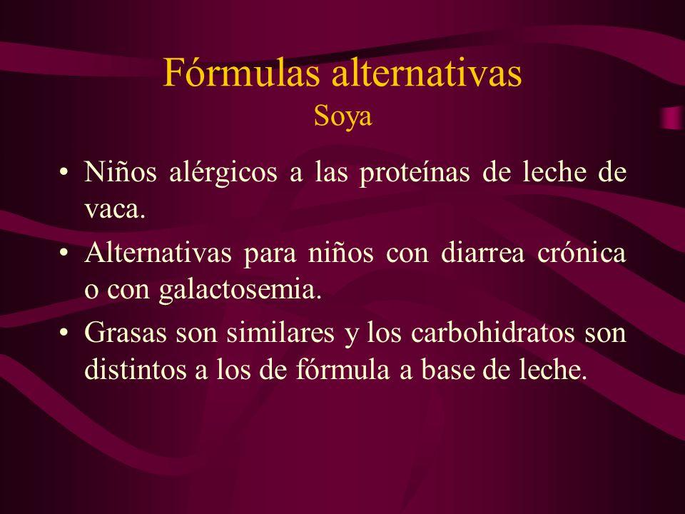 Fórmulas alternativas Soya Niños alérgicos a las proteínas de leche de vaca. Alternativas para niños con diarrea crónica o con galactosemia. Grasas so