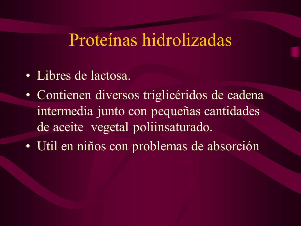 Proteínas hidrolizadas Libres de lactosa. Contienen diversos triglicéridos de cadena intermedia junto con pequeñas cantidades de aceite vegetal poliin