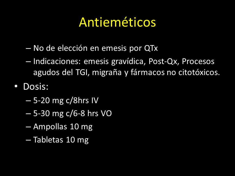 Antieméticos – No de elección en emesis por QTx – Indicaciones: emesis gravídica, Post-Qx, Procesos agudos del TGI, migraña y fármacos no citotóxicos.