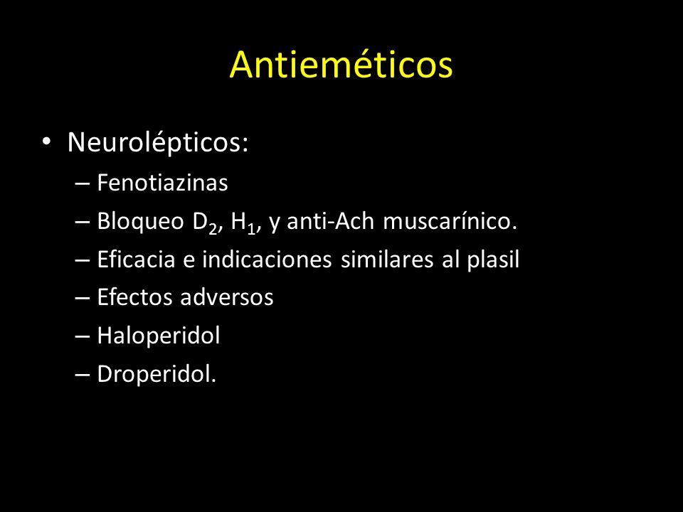 Antieméticos Neurolépticos: – Fenotiazinas – Bloqueo D 2, H 1, y anti-Ach muscarínico. – Eficacia e indicaciones similares al plasil – Efectos adverso