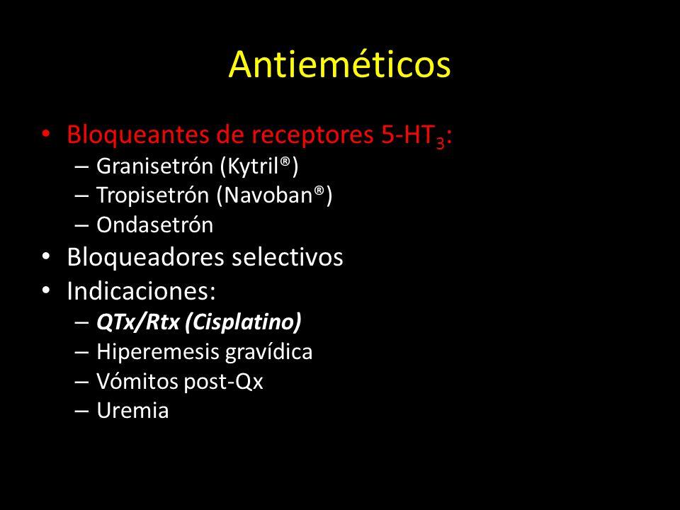 Antieméticos Bloqueantes de receptores 5-HT 3 : – Granisetrón (Kytril®) – Tropisetrón (Navoban®) – Ondasetrón Bloqueadores selectivos Indicaciones: –
