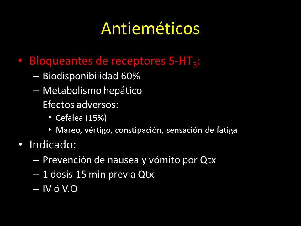 Antieméticos Bloqueantes de receptores 5-HT 3 : – Biodisponibilidad 60% – Metabolismo hepático – Efectos adversos: Cefalea (15%) Mareo, vértigo, const