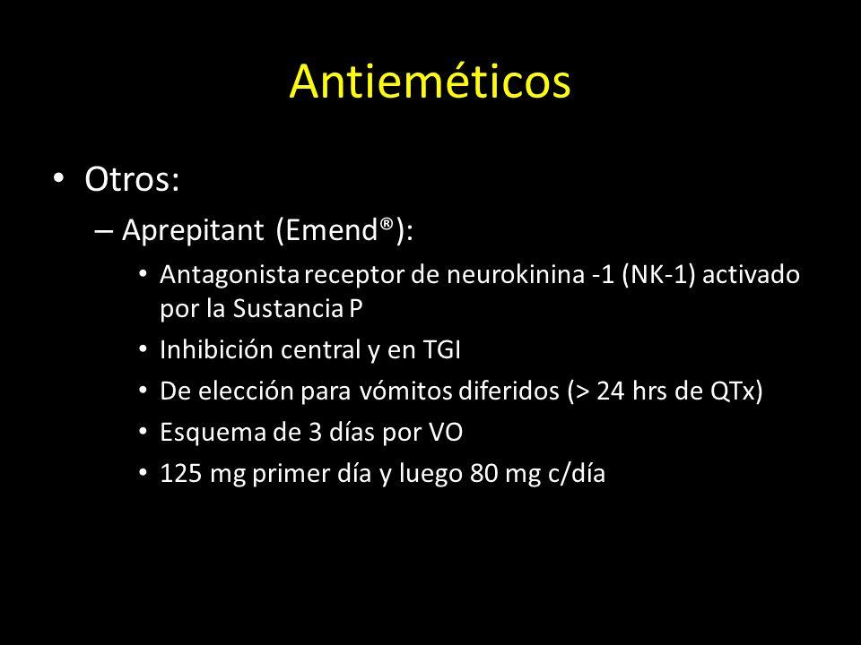 Antieméticos Otros: – Aprepitant (Emend®): Antagonista receptor de neurokinina -1 (NK-1) activado por la Sustancia P Inhibición central y en TGI De el