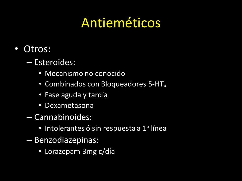 Otros: – Esteroides: Mecanismo no conocido Combinados con Bloqueadores 5-HT 3 Fase aguda y tardía Dexametasona – Cannabinoides: Intolerantes ó sin res