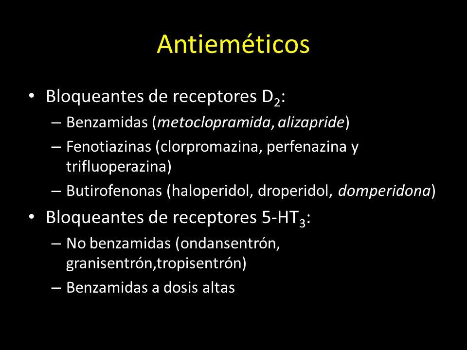 Antieméticos Bloqueantes de receptores D 2 : – Benzamidas (metoclopramida, alizapride) – Fenotiazinas (clorpromazina, perfenazina y trifluoperazina) –