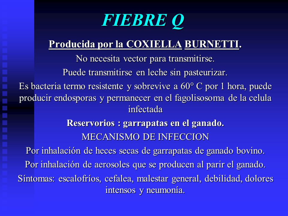 FIEBRE Q Producida por la COXIELLA BURNETTI. No necesita vector para transmitirse. Puede transmitirse en leche sin pasteurizar. Es bacteria termo resi