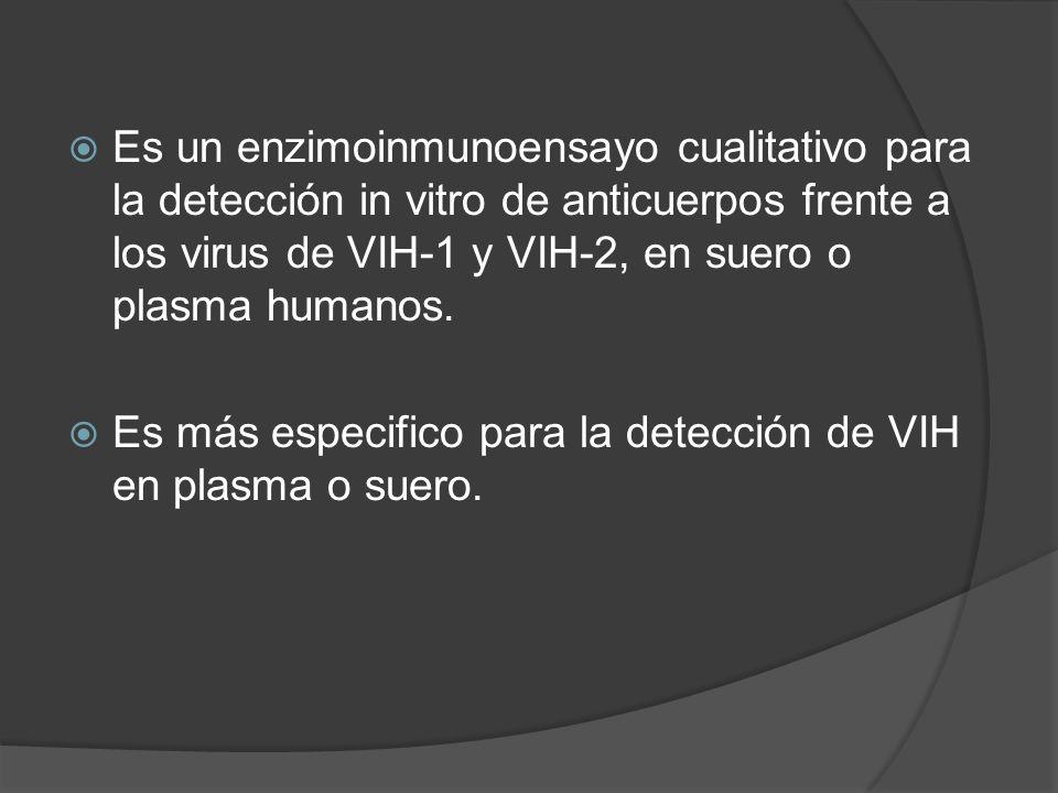 Es un enzimoinmunoensayo cualitativo para la detección in vitro de anticuerpos frente a los virus de VIH-1 y VIH-2, en suero o plasma humanos. Es más