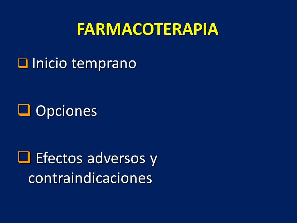 FARMACOTERAPIA Inicio temprano Inicio temprano Opciones Opciones Efectos adversos y contraindicaciones Efectos adversos y contraindicaciones
