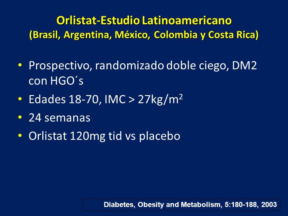 Orlistat-Estudio Latinoamericano (Brasil, Argentina, México, Colombia y Costa Rica) Prospectivo, randomizado doble ciego, DM2 con HGO´s Edades 18-70,