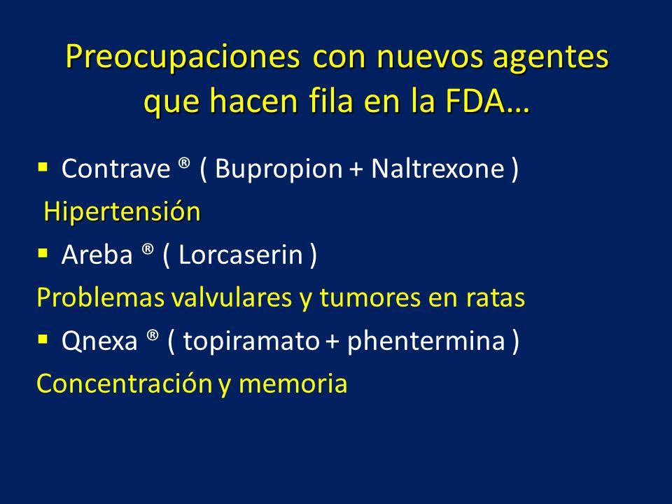 Preocupaciones con nuevos agentes que hacen fila en la FDA… Contrave ® ( Bupropion + Naltrexone ) Hipertensión Hipertensión Areba ® ( Lorcaserin ) Pro