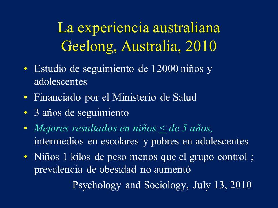 La experiencia australiana Geelong, Australia, 2010 Estudio de seguimiento de 12000 niños y adolescentes Financiado por el Ministerio de Salud 3 años