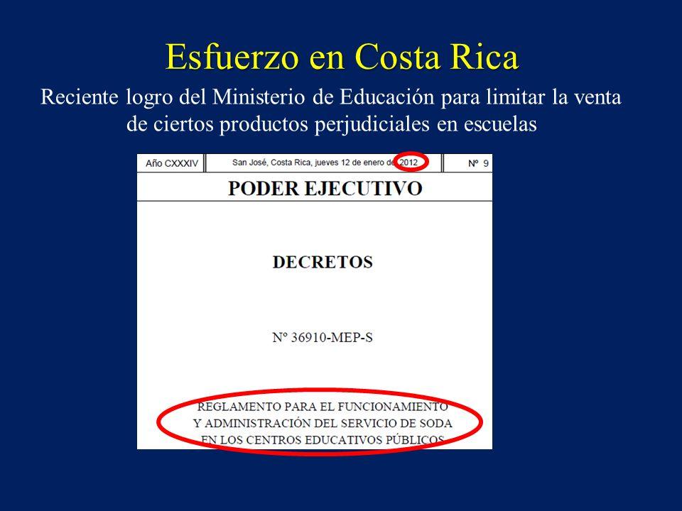 Esfuerzo en Costa Rica Reciente logro del Ministerio de Educación para limitar la venta de ciertos productos perjudiciales en escuelas