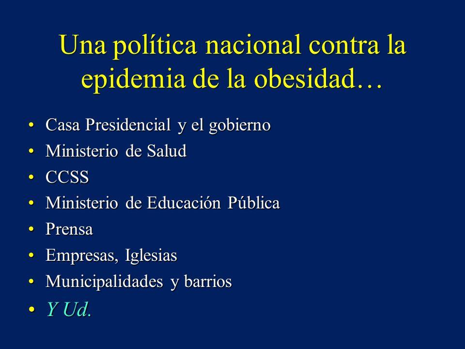 Una política nacional contra la epidemia de la obesidad… Casa Presidencial y el gobiernoCasa Presidencial y el gobierno Ministerio de SaludMinisterio