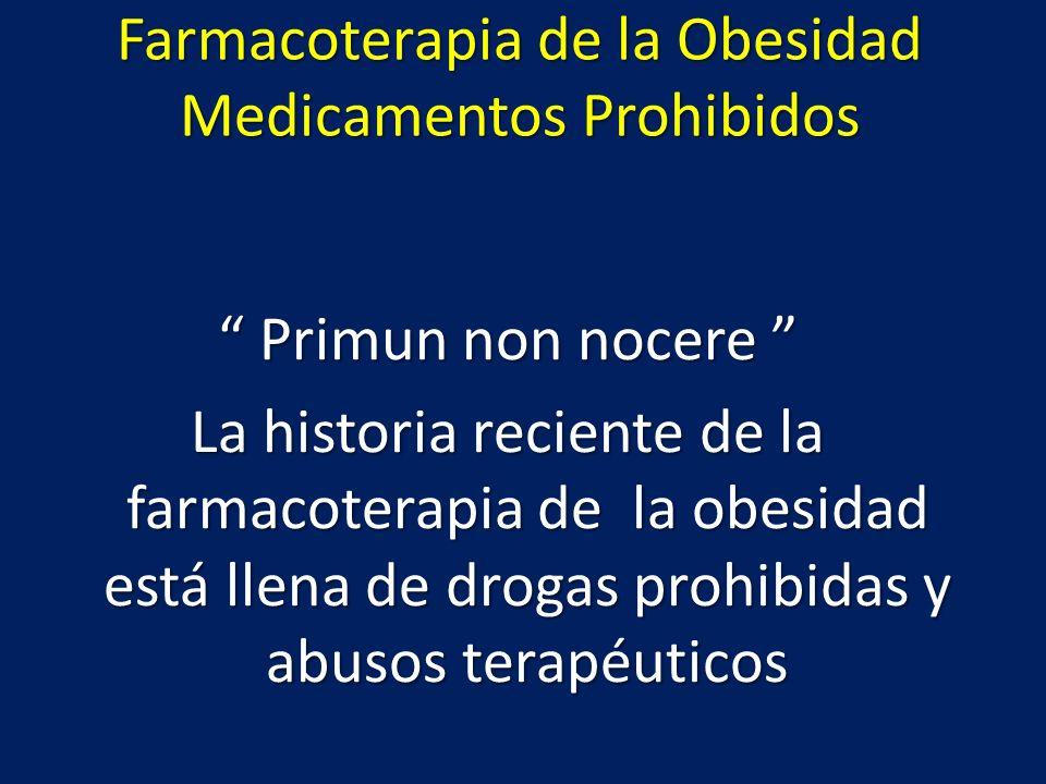 Medicamentos Prohibidos Levotiroxina HipertiroidismoLevotiroxina Hipertiroidismo Anfetaminas Abuso, crisis adrenérgicasAnfetaminas Abuso, crisis adrenérgicas Dinitrofenol Cataratas y neuropatíaDinitrofenol Cataratas y neuropatía Rainbow pills Arritmias y trastornos hidroelectrolíticosRainbow pills Arritmias y trastornos hidroelectrolíticos Aminorex Hipertensión pulmonarAminorex Hipertensión pulmonar D – fenfluramina Hipertensión pulmonar y valvulopatíasD – fenfluramina Hipertensión pulmonar y valvulopatías Sibutramina aumento de riesgo cardiovascularSibutramina aumento de riesgo cardiovascular