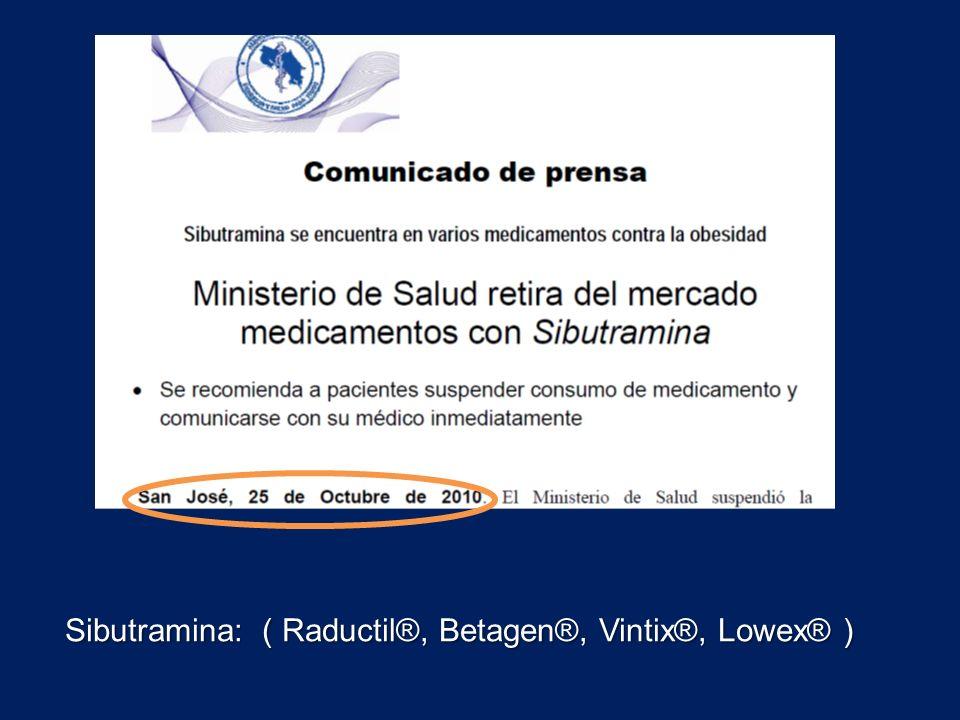 Sibutramina: ( Raductil®, Betagen®, Vintix®, Lowex® )