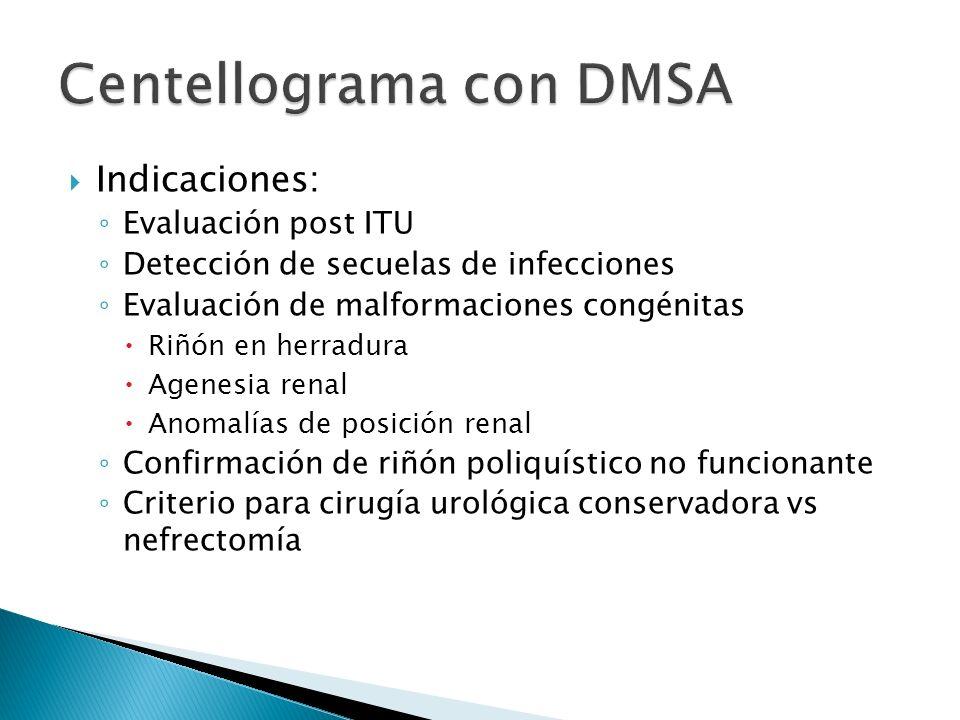 Indicaciones: Evaluación post ITU Detección de secuelas de infecciones Evaluación de malformaciones congénitas Riñón en herradura Agenesia renal Anomalías de posición renal Confirmación de riñón poliquístico no funcionante Criterio para cirugía urológica conservadora vs nefrectomía