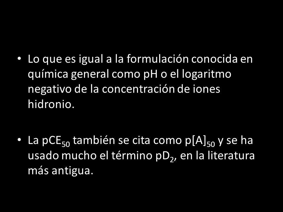 Lo que es igual a la formulación conocida en química general como pH o el logaritmo negativo de la concentración de iones hidronio. La pCE 50 también