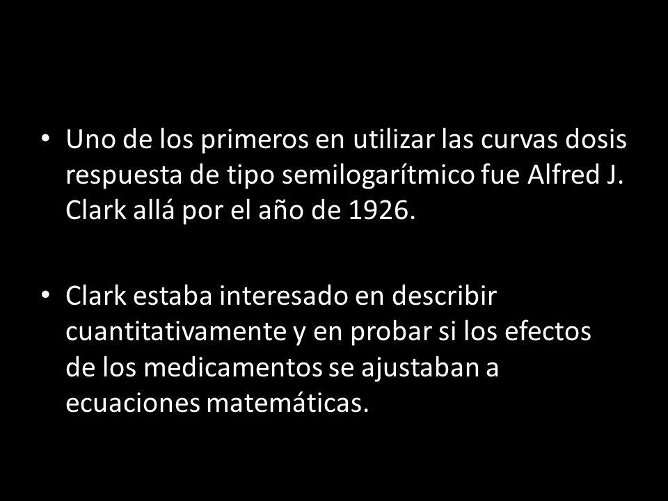 Uno de los primeros en utilizar las curvas dosis respuesta de tipo semilogarítmico fue Alfred J. Clark allá por el año de 1926. Clark estaba interesad